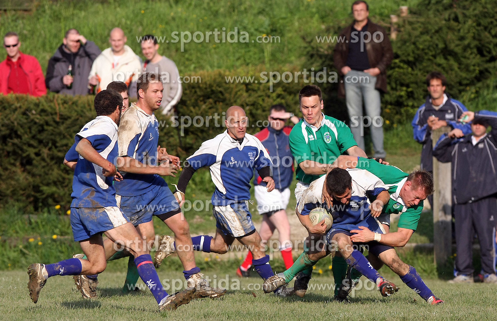 Rugby match between National team of Slovenia (green) and Israel (blue) at European Championship of C group 3rd division, on April 26, 2008, in Stanezice, Ljubljana, Slovenia. Match was won by Slovenia 17:5. Team of Slovenia: Potnik, SlapniËar, MikliË, Gobec, KrsmanoviÊ, Miljuö, Duh, DjuratoviÊ, Troppan, KavËiË (kap.), Kralj, Volavöek U., Arko, Kos, Burnik, LaziÊ, Zavröan, Spreizer, JoviÊ, Volavöek D., Maguöar, Dragman (Photo by Vid Ponikvar / Sportal Images)/ Sportida)