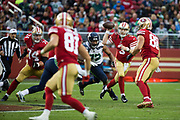 San Francisco 49ers quarterback C.J. Beathard (3) looks to pass against the Seattle Seahawks at Levi's Stadium in Santa Clara, Calif., on November 26, 2017. (Stan Olszewski/Special to S.F. Examiner)