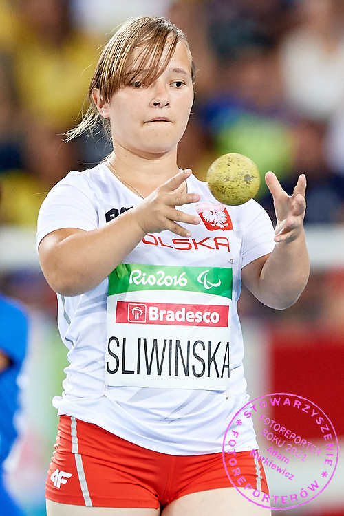 Rio de Janeiro, Brazil - 2016 September 11: Renata Sliwinska from Poland competes inWomen's Shot Put - F40 Final at Olympic Stadium during 2016 Summer Paralympic Games on September 11, 2016 in Rio de Janeiro, Brazil.<br /> <br /> Adam Nurkiewicz declares that he has no rights to the image of people at the photographs of his authorship.<br /> <br /> Picture also available in RAW (NEF) or TIFF format on special request.<br /> <br /> Any editorial, commercial or promotional use requires written permission from the author of image.<br /> <br /> Mandatory credit:<br /> Photo by &copy; Adam Nurkiewicz / Mediasport