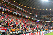 Manchester United fans celebrating winning the Europa League Trophy during the Europa League Final between Ajax and Manchester United at Friends Arena, Solna, Stockholm, Sweden on 24 May 2017. Photo by Phil Duncan.