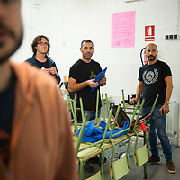 Terrassa, Catalonia, Spain. Saturday, 01 October 2017. Catalan referendum. Setting up the polling stations and first voters. Activists and families had spend the night inside their assigned polling stations as a measure to try to avoid the closure of the schools by the police.  Terrassa, Catalonia. Spain