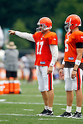 Cleveland Browns quarterback Jake Delhomme (17) points during NFL football training camp at the Cleveland Browns Training Complex on Monday, August 9, 2010 in Berea, Ohio. (©Paul Anthony Spinelli)