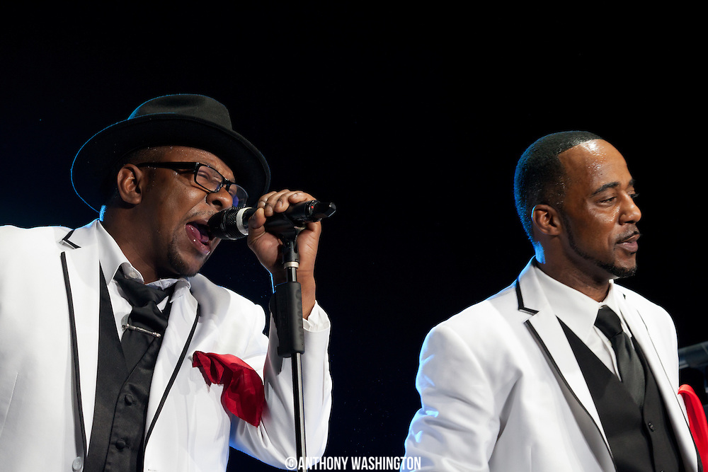Bobby Brown (left) of the group New Edition performs during the groups 30th Anniversary Reunion Tour at the 1st Mariner Arena in Baltimore, MD on Sunday, May 20, 2012.