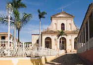 The Iglesia Parroquial de la Santisima Trinidad,(Church of the Holy Trinity) in the cobblestoned Plaza Mayor of Trinidad, Cuba<br /> Trinidad is a UNESCO World Heritage Site.