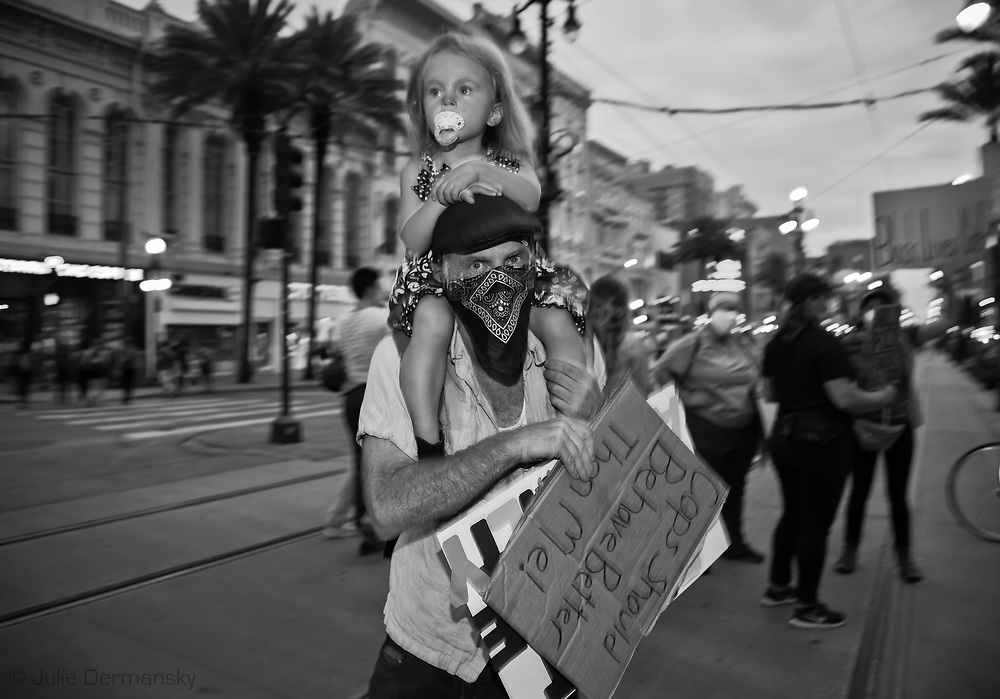 George Floyd solidarity protest in New Orleans on June 1, 2020. After meeting at Duncan Plaza across from New Orleans City Hall, about 1000 protesters marched through New Orleans French Quarter calling for justice for George Floyd and an end to racism in the United States.