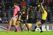 Hamish Watson scores try during the European Rugby Challenge Cup match between Edinburgh Rugby and Stade Francais at Murrayfield Stadium, Edinburgh, Scotland on 12 January 2018. Photo by Kevin Murray.