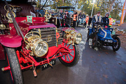 Arriving at dawn before the start in Hyde Park - The London to Brighton Veteran Car Run, which dates back to 1927, was founded to commemorate the Emancipation Run of 1896, which celebrated the new-found freedom of motorists granted by the 'repeal of the Red Flag Act.' The Act raised the speed limit to 14mph and abolished the need for a man carrying a red flag to walk ahead of the cars whenever they were being driven. It is the longest running motoring event in the world, this year has a French theme in honour of the country's contribution to motoring's early days. It is is organised by the Royal Automobile Club.