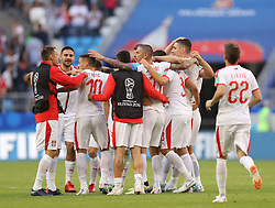 SAMARA, June 17, 2018  Players of Serbia celebrate their victory after a group E match between Costa Rica and Serbia at the 2018 FIFA World Cup in Samara, Russia, June 17, 2018. Serbia won 1-0. (Credit Image: © Fei Maohua/Xinhua via ZUMA Wire)