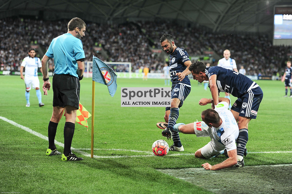 Fahid Ben Khalfallah of Melbourne Victory, Ivan Franjic of Melbourne City, Daniel Georgievski of Melbourne Victory - Hyundai A-League, 19th December 2015, RD11 match between Melbourne City FC v Melbourne Victory FC at Aami Park in a 2:1 win to City in front of a 23,000+ crowd. Melbourne Australia. © Mark Avellino | SportPix.org.uk