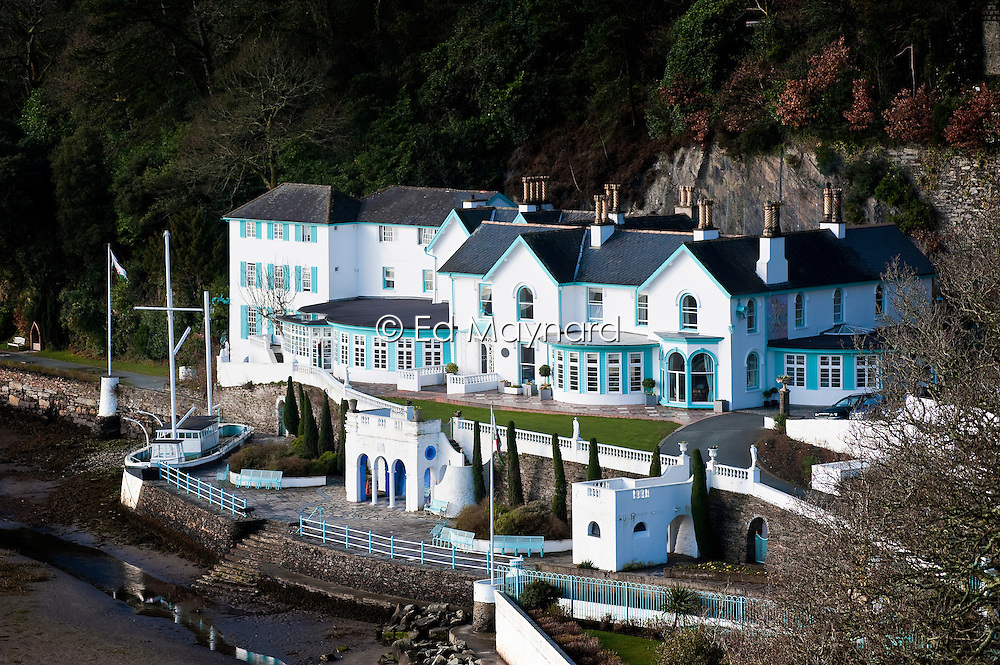 The Portmeirion Hotel in Portmeirion village, designed and built by Sir Clough Williams-Ellis, Gwynedd, Wales, UK