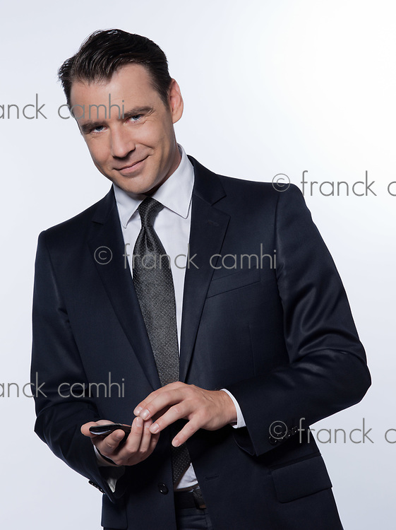 handsome caucasian man portrait isolated studio on white background