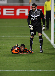 A dejected LUiz Adriano lies on the ground after missing an easy opportunity. Toulouse v Shakatar Donestk, Uefa Europa League, Stade Municipal, Toulouse, France, 5th November 2009.