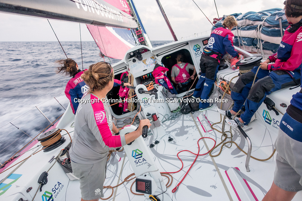 January 17, 2015. Day 14 of Leg 3 to Sanya, onboard Team SCA. Annddd we're off! Team SCA look forward towards Sumatra and the Malacca Straits.