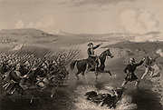 Omar Pasha (born Michael Latas, 1806-1871) Croatian-born Ottoman general. Commanded the Turkish forces during Crimean (Russo-Turkish) War 1853-1856. Omar Pasha leading his Turkish troops across the river Ingour in a successful attack on the Russians. Engraving.