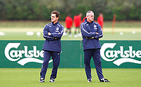 Fabio Capello. ( England Head Coach ). not speaking to Ray Clements. ( England ). England Training at The London Colney. 2nd Sept 2008. <br /> Credit  Colorsport / Kieran Galvin