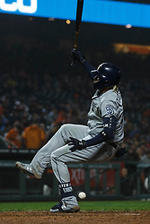 SAN FRANCISCO, CA - APRIL 08: Fernando Tatis Jr. #23 of the San Diego Padres is hit by a pitch from Madison Bumgarner (not pictured) of the San Francisco Giants during the seventh inning at Oracle Park on April 8, 2019 in San Francisco, California. The San Diego Padres defeated the San Francisco Giants 6-5. (Photo by Jason O. Watson/Getty Images) *** Local Caption *** Fernando Tatis Jr.