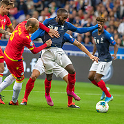 PARIS, FRANCE - September 10: Jonathan Ikone #22 of France drives into the penalty area defended by Ildefons Lima #6 of Andorra during the France V Andorra, UEFA European Championship 2020 Qualifying match at Stade de France on September 10th 2019 in Paris, France (Photo by Tim Clayton/Corbis via Getty Images)