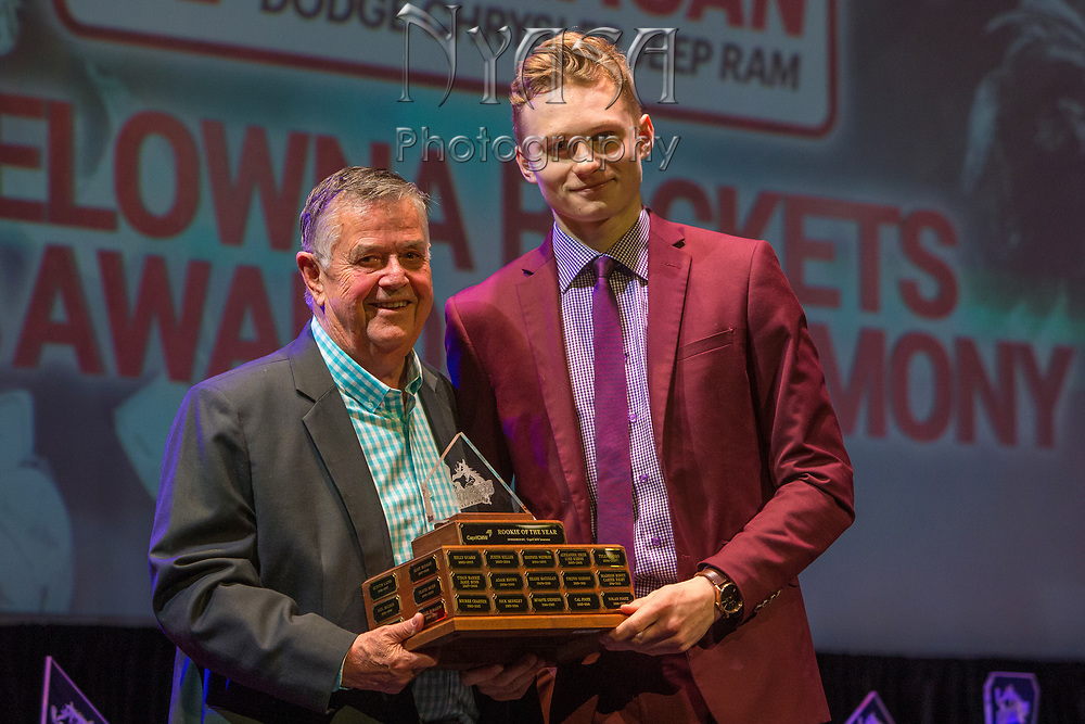 KELOWNA, CANADA - MARCH 18:  Rookie of the Year Award Sponsored by Capri CMW.  The award was presented by Ev Rae to Kaedan Korczak at the Kelowna Rockets Awards Ceremony on March 18, 2018 at The Kelowna Community Theatre  in Kelowna, British Columbia, Canada.  (Photo By Cindy Rogers/Nyasa Photography,  *** Local Caption ***