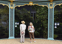 © Licensed to London News Pictures. 24/05/2012. Waddesdon, UK. People look at the birds in the Aviary. People enjoy the warm weather amongst an exhibition of contemporary sculpture at Waddesdon Manor, Buckinghamshire, today 24th May 2012. The exhibition is being held by Christie's as part of a private sale. Photo credit : Stephen Simpson/LNP