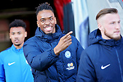 Peterborough Utd forward Ivan Toney (17) in a jovial mood arriving in the stadium before the EFL Sky Bet League 1 match between Doncaster Rovers and Peterborough United at the Keepmoat Stadium, Doncaster, England on 9 February 2019.