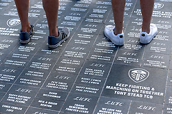 A general view of the commemorative plaques at Bremner Square outside Elland Road prior to the Sky Bet Championship match at Elland Road, Leeds.