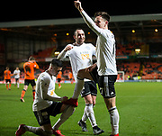30th November 2018, Tannadice Park, Dundee, Scotland; Scottish Championship football, Dundee United versus Ayr United; Lawrence Shankland of Ayr United is congratulated by Declan McDaid and Michael Moffat after scring for 5-0 in the 88th minute