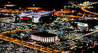Aerial view of Philadelphia's Wachovia Center, Spectrum, the Link, shot the night of the 2008 World Series.