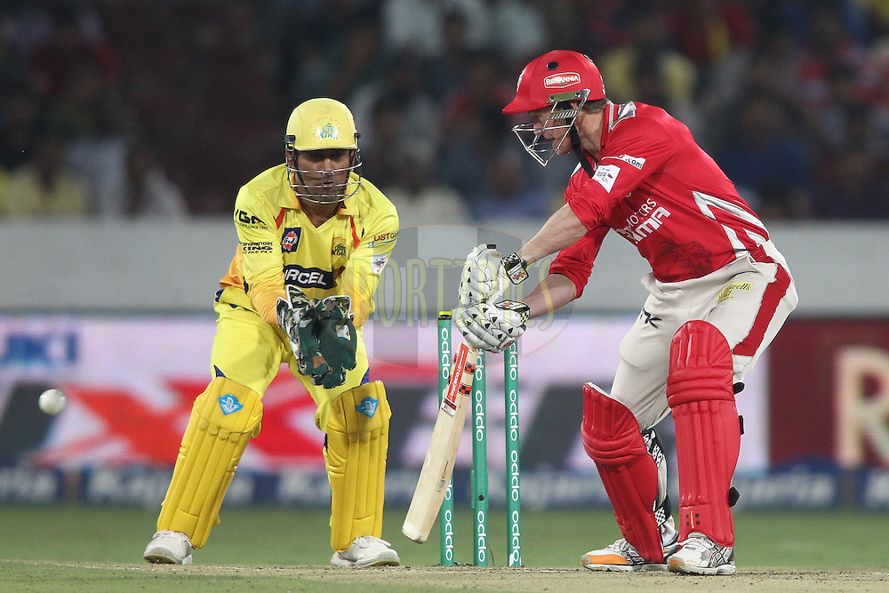 Kings XI Punjab captain George Bailey plays a delivery late during the second semi final match of the Oppo Champions League Twenty20 between the Kings XI Punjab and the Chennai Superkings held at the Rajiv Gandhi Cricket Stadium, Hyderabad, India on the 2nd October 2014<br /> <br /> Photo by:  Shaun Roy / Sportzpics/ CLT20<br /> <br /> <br /> Image use is subject to the terms and conditions as laid out by the BCCI/ CLT20.  The terms and conditions can be downloaded here:<br /> <br /> http://sportzpics.photoshelter.com/gallery/CLT20-Image-Terms-and-Conditions-2014/G0000IfNJn535VPU/C0000QhhKadWcjYs