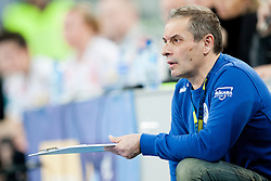 Tone Tiselj, head coach of RK Krim Mercator during handball match between RK Krim Mercator (SLO) and Larvik HK (NOR) in 1st Round of Women's Champions League on February 1, 2014 in Arena Stozice, Ljubljana, Slovenia. Photo by Urban Urbanc / Sportida