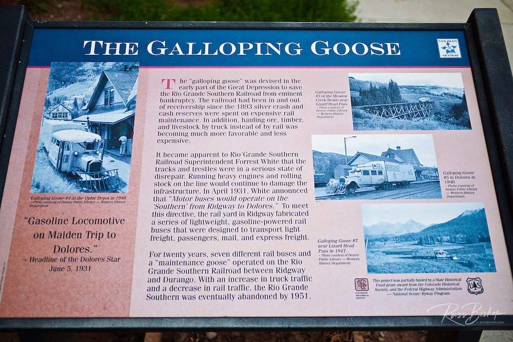 Interpretive sign at the historic Rio Grande Southern Galloping Goose, Dolores, Colorado