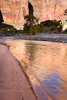 Cliffs of Zion Canyon reflected in the waters of the Virgin River, Zion National Park Utah USA beautiful