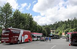 Katusha trucks on the parking lot before press conference of cycling race Po Sloveniji - Tour de Slovenie 2015 on June 15, 2016 in Hotel Jama, Postojna, Slovenia. Photo by Morgan Kristan / Sportida