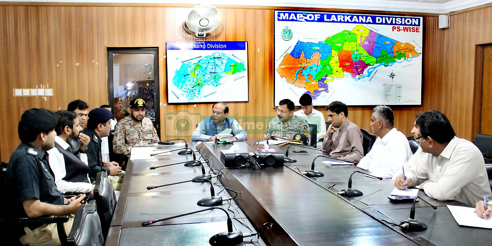 May 26, 2019 - Pakistan - LARKANA, PAKISTAN, MAY 26: Commissioner Larkana Division, Muhammad Saleem Raza .Khuhro presides over high level meeting to review security arrangement in connection of Youm-.e-Ali (A.S) coming ahead, in Larkana on Sunday, May 26, 2019. (Credit Image: © PPI via ZUMA Wire)
