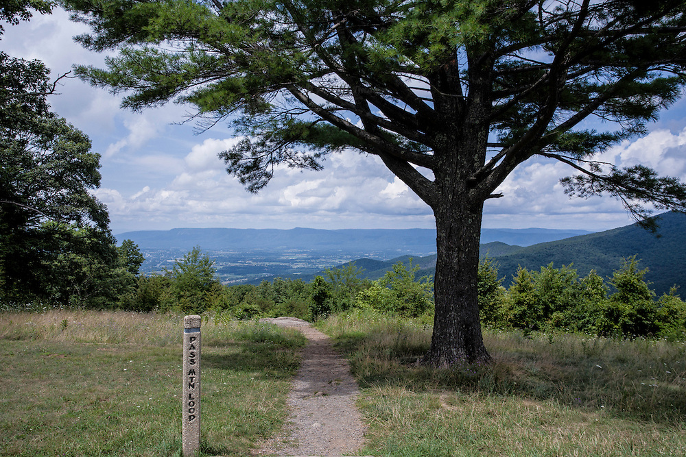 Scene of the Shenandoah Valley seen from Pass Mountain Gap, on the Skyline Drive in Virginia