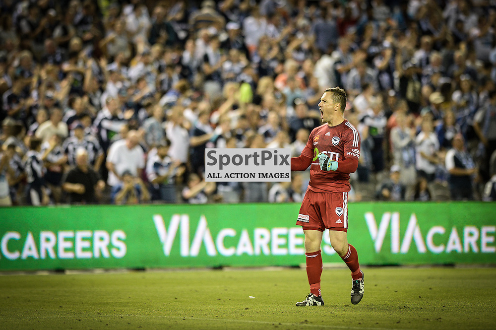Danny Vukovic (GK) of Melbourne Victory celebrate the win at the end of Hyundai A-League (Australia Day) - January 26th 2016 - RD16 - Melbourne Victory FC v Sydney FC at Etihad Stadium, Docklands, Melbourne, Australia in a 1:0 win to Victory - © Mark Avellino | SportPix.org.uk