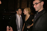 PAUL FRYER ,  POLLY MORGAN and PAUL DAVIES Viewing of 'Petit Mal'  by Paul Fryer. The Grecian Temple. Great Eastern Hotel. 40 Liverpool St. London. EC2M 7QN. ONE TIME USE ONLY - DO NOT ARCHIVE  © Copyright Photograph by Dafydd Jones 66 Stockwell Park Rd. London SW9 0DA Tel 020 7733 0108 www.dafjones.com
