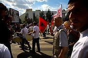 """Vetvendosje (""""Self-Determination"""" in Albanian) protest. Albanian flag...Pristina, Kosovo, Serbia."""