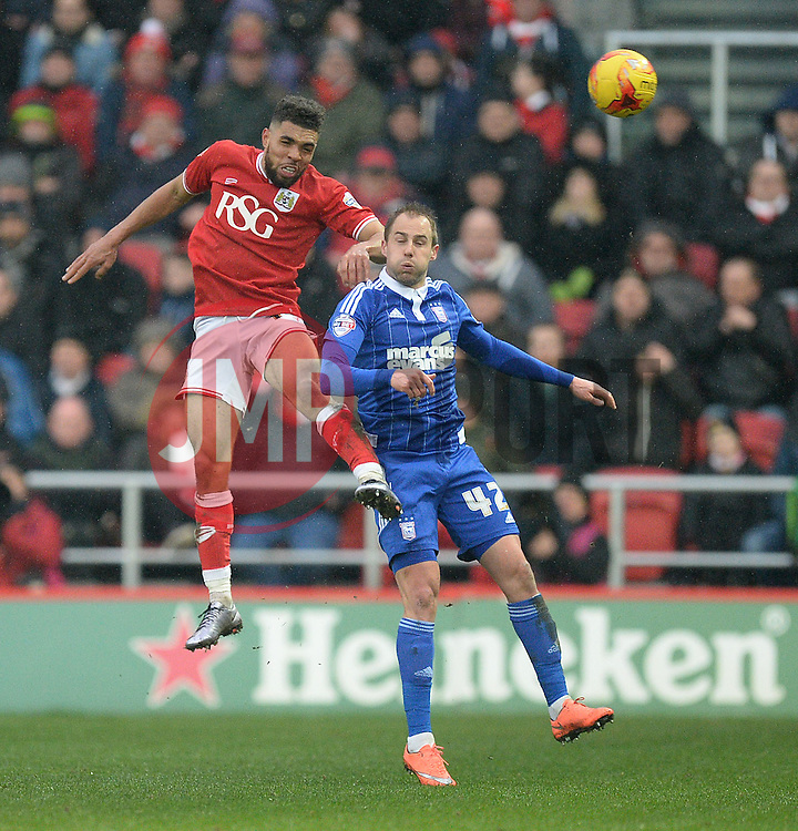 Scott Golbourne of Bristol City wins a high ball over Luke Varney of Ipswich Town - Mandatory byline: Alex James/JMP - 13/02/2016 - FOOTBALL - Ashton Gate - Bristol, England - Bristol City v Ipswich Town - Sky Bet Championship