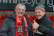 Accrington Stanley fans still smiling before the EFL Sky Bet League 1 match between Accrington Stanley and Fleetwood Town at the Fraser Eagle Stadium, Accrington, England on 30 March 2019.