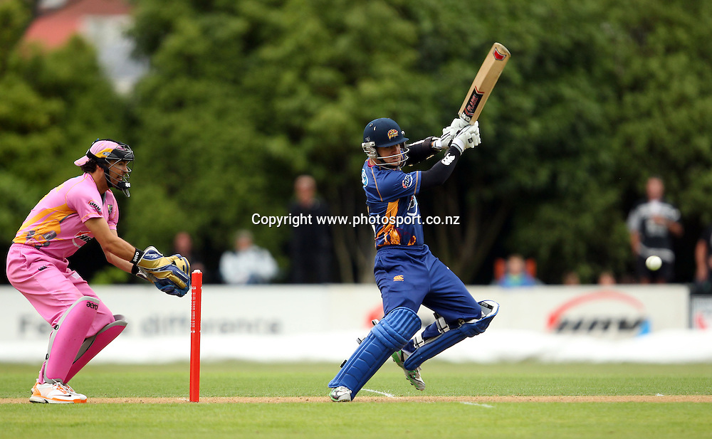 Nathan McCullum in action for the Volts.<br /> Twenty20 Cricket - HRV Cup, Otago Volts v Northern Knights, 29 December 2011, University Oval, Dunedin, New Zealand.<br /> Photo: Rob Jefferies/PHOTOSPORT