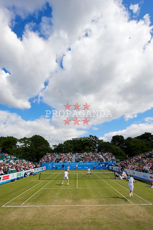 LIVERPOOL, ENGLAND - Saturday, June 19, 2010: Men's doubles on day four of the Liverpool International Tennis Tournament at Calderstones Park. (Pic by David Rawcliffe/Propaganda)