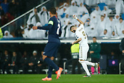 Karim Benzema of Real Madrid celebrates a goal during the UEFA Champions League, Group A football match between Real Madrid CF and Paris Saint-Germain on November 26, 2019 at Parc des Princes stadium in Paris, France - Photo Oscar J Barroso / Spain ProSportsImages / DPPI / ProSportsImages / DPPI