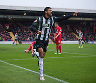 Jake Jervis of Plymouth Argyle celebrates after scoring his team's 1st goal to make it 1-0 during the Sky Bet League 2 match at Bootham Crescent, York<br /> Picture by Russell Hart/Focus Images Ltd 07791 688 420<br /> 14/11/2015