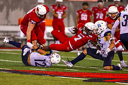 NORMAL, IL - September 21: Jeff Proctor's run comes to an end when he gets upended by Anthony Sweeney during a college football game between the ISU (Illinois State University) Redbirds and the Northern Arizona University (NAU) Lumberjacks on September 21 2019 at Hancock Stadium in Normal, IL. (Photo by Alan Look)