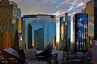 Las Vegas, business and shopping centre. Sunset sky reflections in the glass walls of business centres and hotels.<br />
