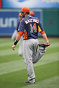ANAHEIM, CA - APRIL 14:  J.D. Martinez #14 of the Houston Astros stretches before the game against the Los Angeles Angels of Anaheim on Sunday, April 14, 2013 at Angel Stadium in Anaheim, California. The Angels won the game 4-1. (Photo by Paul Spinelli/MLB Photos via Getty Images) *** Local Caption *** J.D. Martinez