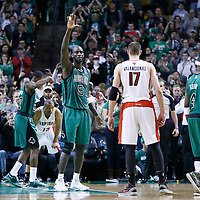 13 March 2013: Boston Celtics center Kevin Garnett (5) thanks the fans as he passed Jerry West for 15th on the NBA's all-time scoring list during the Boston Celtics 112-88 victory over the Toronto Raptors at the TD Garden, Boston, Massachusetts, USA.