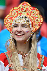 24th June 2017 - FIFA Confederations Cup (Group A) - Mexico v Russia - A female Russia fan wears a traditional dress - Photo: Simon Stacpoole / Offside.