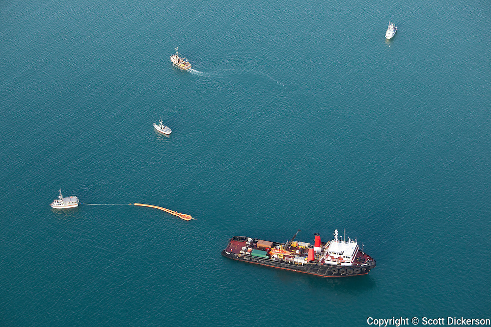 Aerial view of Alyeska Pipeline Service Company conducting fishing vessel and oil-response training in Kachemak Bay, Alaska. The trainins in part of Alyeska's Ship Escort / Response Vessel System (SERVS) program. The training took place on April 3 and 4, 2010.