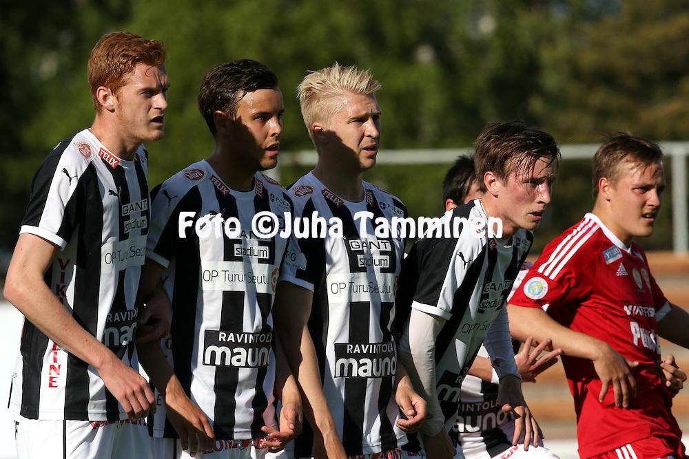 22.6.2015, Stadion, Pori.<br /> Ykk&ouml;nen 2015.<br /> FC Jazz - Turun Palloseura<br /> Matej Hradecky, Santeri Peltola, Jussi Aalto &amp; Riku Sj&ouml;roos - TPS